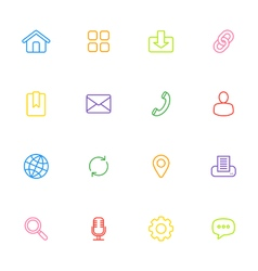 colorful line simple web icon set vector image vector image