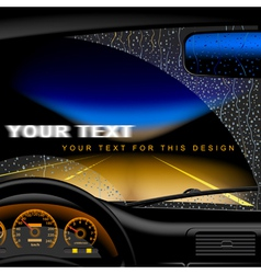 Night road in rain vector image vector image