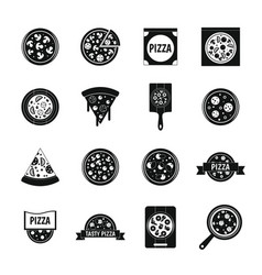pizza icons set food simple style vector image vector image