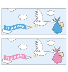 Stork with baby vector image vector image