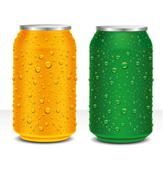 Aluminum cans red and gold with many water drops vector