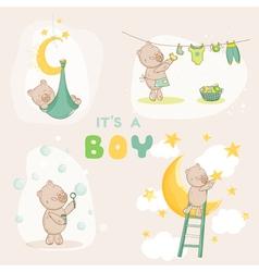 Baby Shower Set - Cute Baby Bear vector image