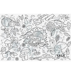 Big set of hand-drawn doodles objects and vector