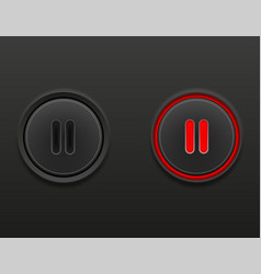 black media button pause on and off position stock vector image