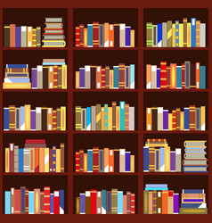 bookshelf seamless pattern vintage flat design vector image