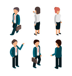 business people isometric office managers workers vector image