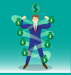 Businessman surrounded by money bags vector