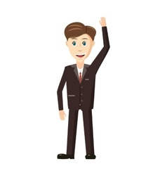 Businessman with hand up icon cartoon style vector image vector image