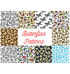 Butterfly and moth seamless pattern background vector