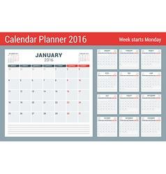 Calendar Planner for 2016 Year Stationery Design vector