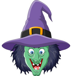 cartoon witch head isolated on white background vector image
