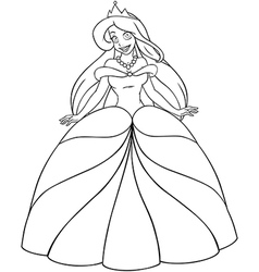 Caucasian Princess Coloring Page vector image