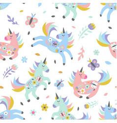 childish seamless pattern with cute unicorn vector image