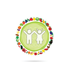 Children with organic fruit and vegetable vector