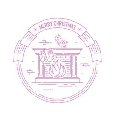 christmas and happy new year badge with fireplace vector