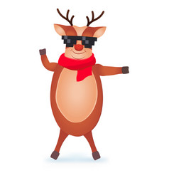 christmas reindeer in pixel glasses cute and vector image