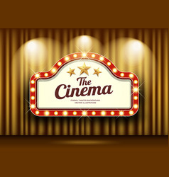 cinema theater and red sign light up curtains gold vector image