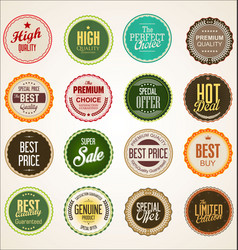collection colorful badge and labels retro vector image