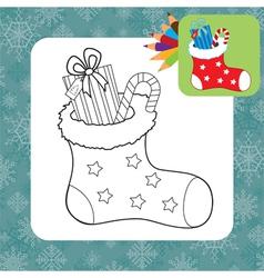 coloring page santa sock vector image