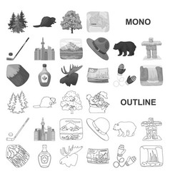 Country canada monochrom icons in set collection vector
