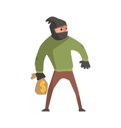 Criminal With The Sock On Head Holding Money Bag vector image