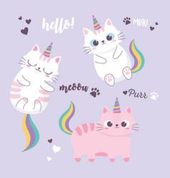 Cute cats rainbow and horns adorable cartoon vector