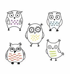 cute comical cartoon owls hand drawn set vector image