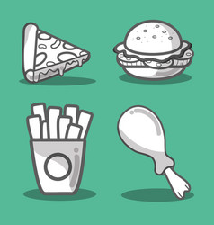 Delicious fast food taste meal vector