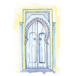 Door in moroccan style vector