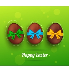 Easter chocolate egg with ribbon on green vector