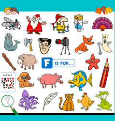 F is for educational game for children vector