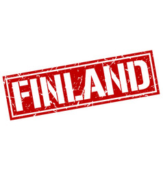 Finland red square stamp vector