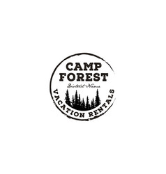 fir pines vintage rustic outdoor camp forest logo vector image