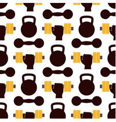 fitness emblem design seamless pattern gym sport vector image