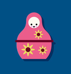 Flat icon design russian doll in sticker style vector