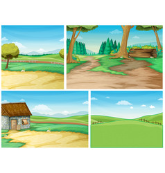Four background scene with road to the countryside vector