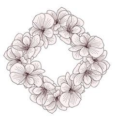 Geranium flowers frame engraving vector image