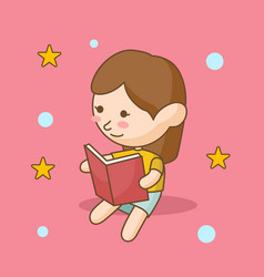 girl reading book good for print design vector image