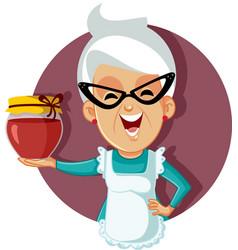 Granny holding a jar homemade jam vector