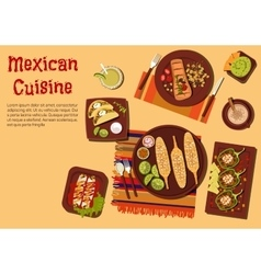 Grilled dishes of mexican cuisine for picnic icon vector