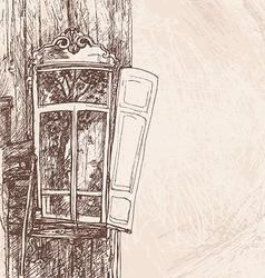 Hand drawing wooden window vector