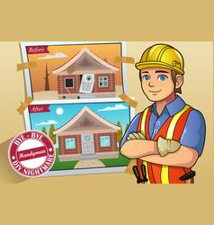 Handyman or contractor service vector