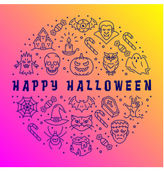 happy halloween card halloween circle vector image