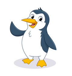 happy penguin waving his hand cartoon character de vector image