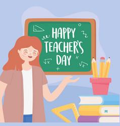 happy teachers day teacher blackboard pencils vector image