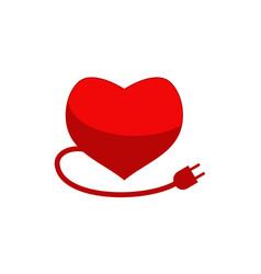 heart plug logo design template vector image