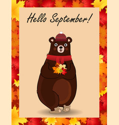 hello september poster with cute bear in hat and vector image