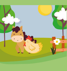 horse and hen wooden fence flowers trees farm vector image