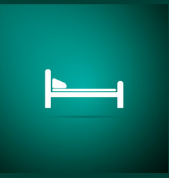 hospital bed icon isolated on green background vector image