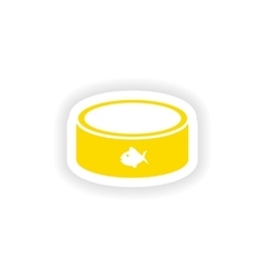 Icon sticker realistic design on paper cat bowl vector